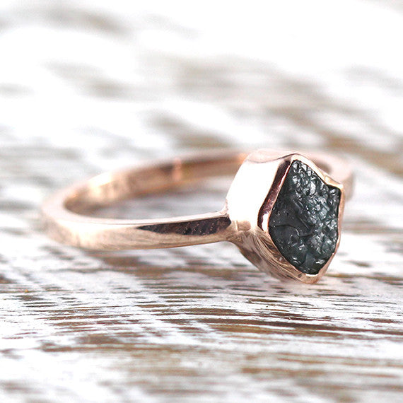 Rose Gold Green Raw Uncut Diamond Engagement Ring