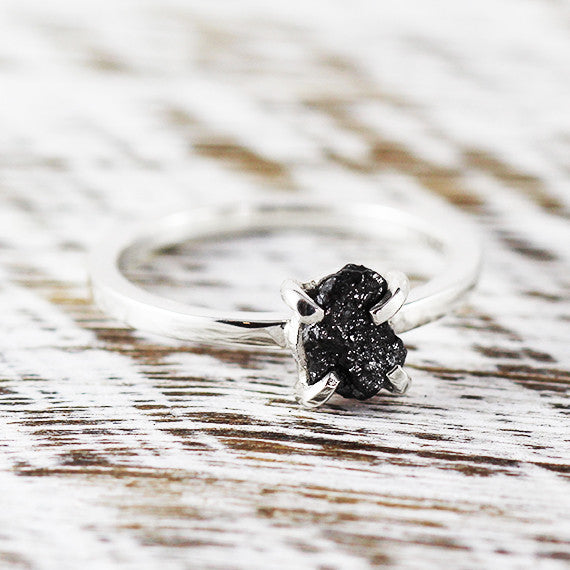 14k Bright White Gold Uncut Black Diamond Ring