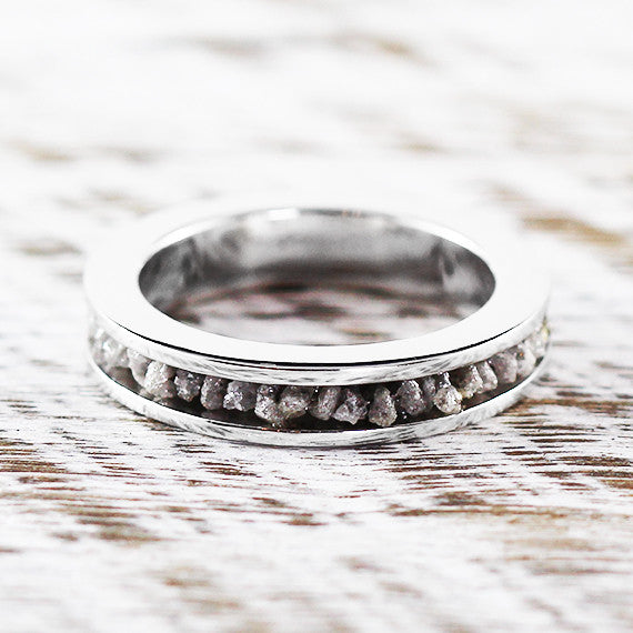 14k White Gold Grey Raw Diamond Wedding Band