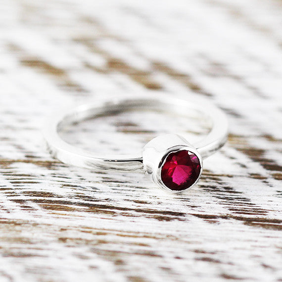 Red Ruby Dainty Womens Ring 925 Sterling Silver