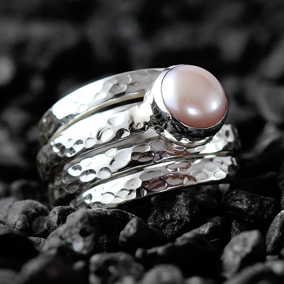 silver pearl ring hammered finish