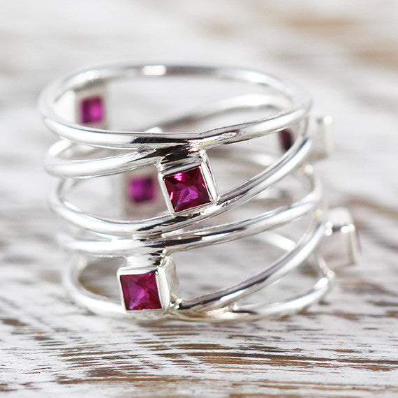 silver red ruby ring