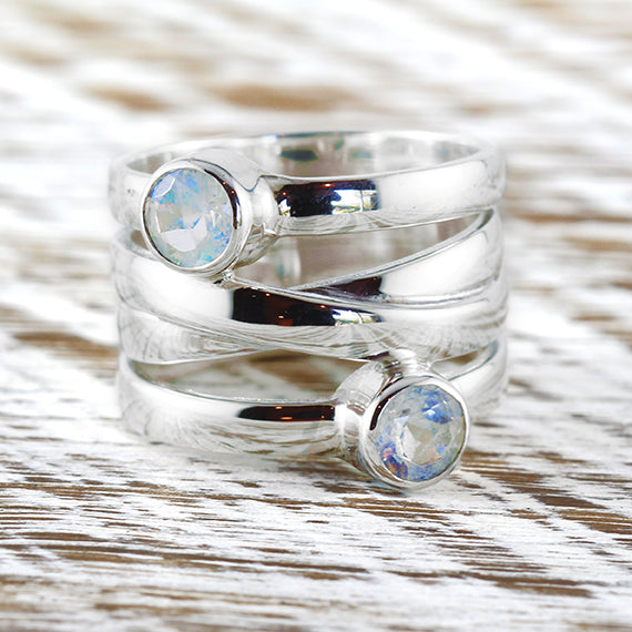 Sterling Silver 925 Rainbow Moonstone Womens Ring