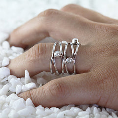 small pearl silver ring