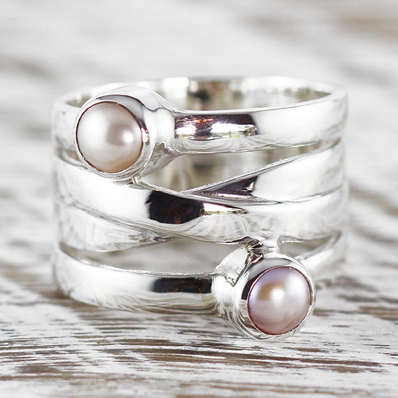 Sterling Silver Pink Freshwater Pearl Womens Ring