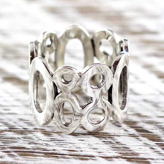 925 Sterling Silver Ring Womens Circles Jewelry Rings
