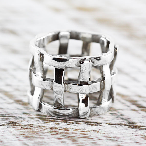 925 Sterling Silver Ring Womens Woven Jewelry Rings