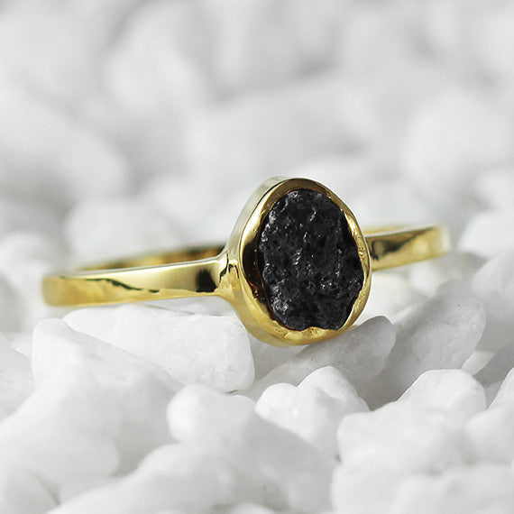 uncut black dimaond ring