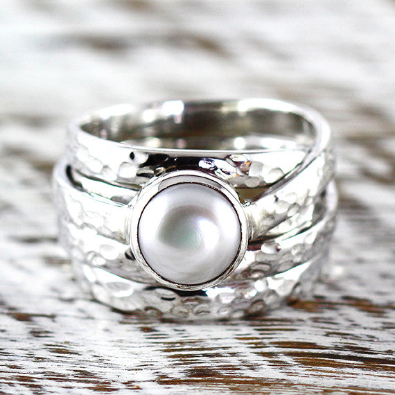 Freshwater White Pearl Ring Sterling Silver Hammered Finish