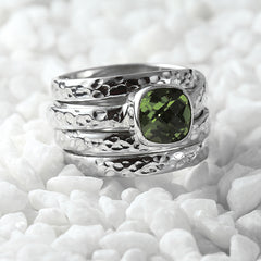 womens green peridot ring