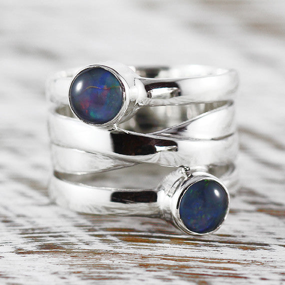 Sterling Silver Natural Opal Gemstone Ring