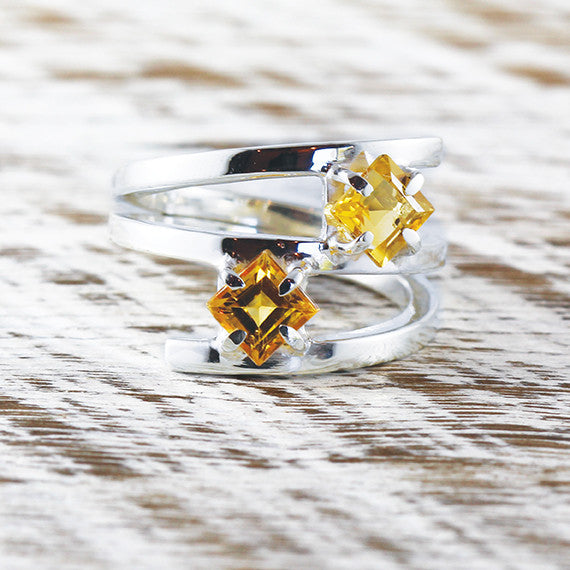 Citrine Yellow Gemstone Delicate Ring 925 Sterling Silver