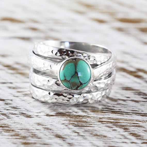 Silver Turquoise Ring Womens 925 Sterling Silver Hammered Finish