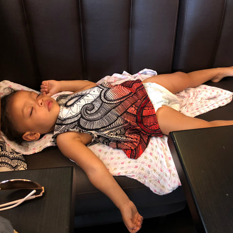 toddler in Paris, my toddler Nyaeli needed a nap. I made her dress. ShoptheKei.com
