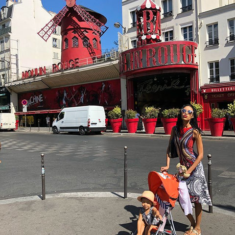 toddler in Paris, Moulin Rouge, I made our mom and baby matching outfits. ShoptheKei.com