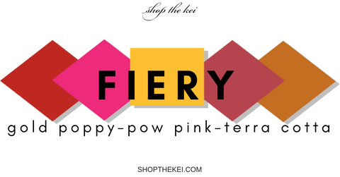 The hottest fashion colors for Spring 2019. Gold Poppy, Terra Cotta, Pow Pink, Spring Fashion Colors 2019, ShoptheKei.com