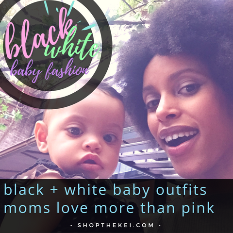 me and my daughter Nyaeli cover black and white baby outfits mom love more than pink, Me and my daughter, black and white baby outfits, baby girl black and white, baby girl dresses, baby clothes, black and white baby dress, black and white baby romper, ShoptheKei.com
