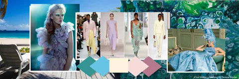 The hottest fashion colors for Spring 2019. Lagoon, Rosewater, Vapor Blue, Spring Fashion Colors 2019, ShoptheKei.com