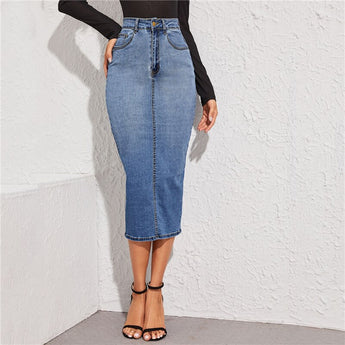 Denim Midi Skirt [TAGs]- ShoptheKei.com