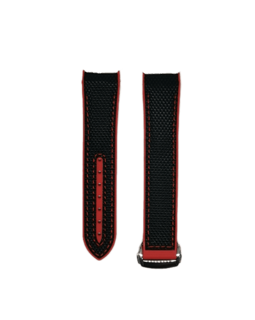 [Curved] King Hybrid Rubber - Black | Red with Deployant Clasp