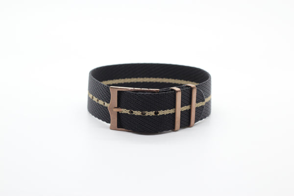 Cross NATO (Adjustable) - Black / Wheat (Bronze Hardware)