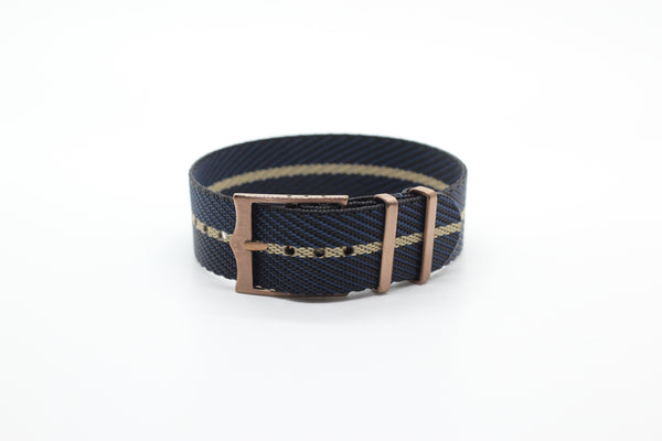 Cross NATO (Adjustable) - Night Blue / Wheat (Bronze Hardware)