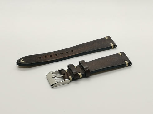 [Quick Release] Vintage Knotted - Smoked Dark Brown - Top-Grain Leather