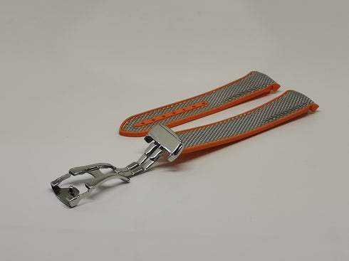 [Curved] King Hybrid Rubber - Silver Grey | Orange with Deployant Clasp
