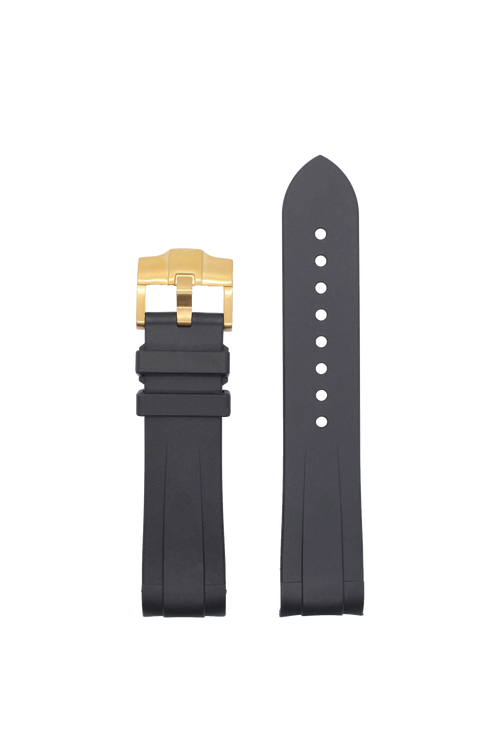 [Curved] King Flexi Rubber - Black | Grey Lining | Gold Hardware