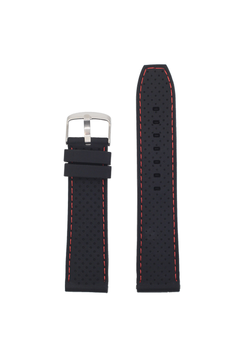 Perforated Flexi Silicone Black | Red Stitching
