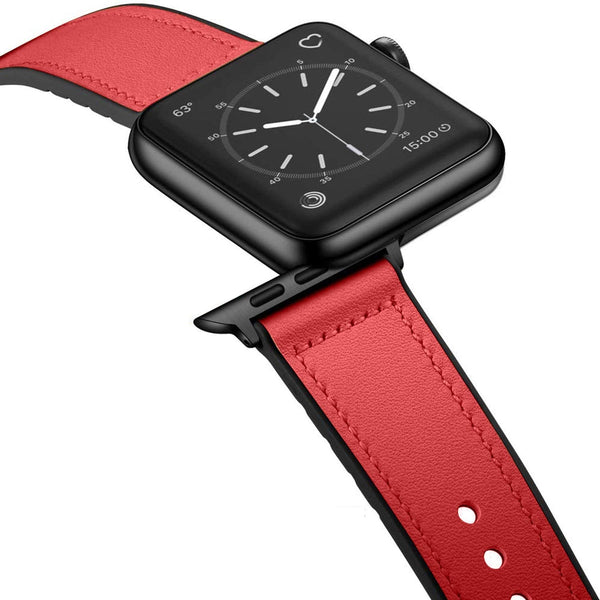 [Apple Watch] Leather Hybrid with Silicone - Red