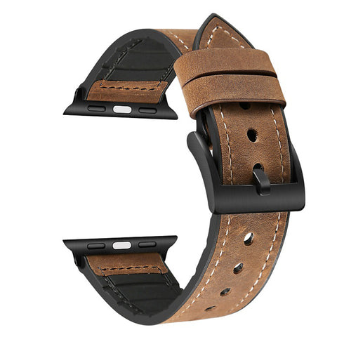 [Apple Watch] Leather Hybrid with Silicone - Dark Brown