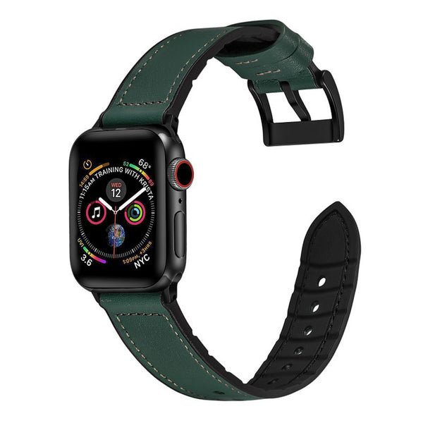 [Apple Watch] Leather Hybrid with Silicone - Forest Green | Brown Stitching