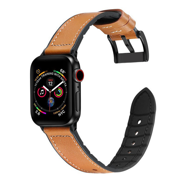 [Apple Watch] Leather Hybrid with Silicone - Tan Brown