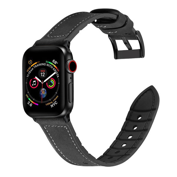 [Apple Watch] Leather Hybrid with Silicone - Black | Brown Stitching
