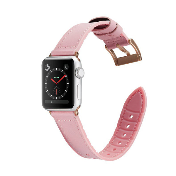 [Apple Watch] Leather Hybrid with Silicone - Pink
