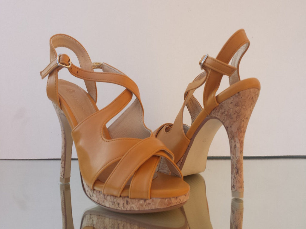 sandals with cork effect heel