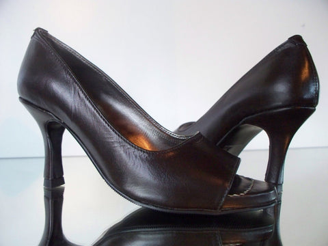 brown peep toe court shoes