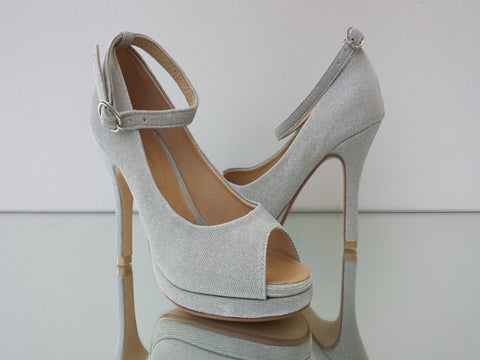 silvery gold fabric shoes