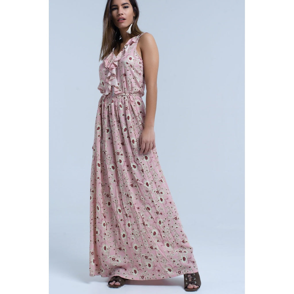 399d40ad640 Pink floral print maxi dress with ruffle detail – Abbellire Vita