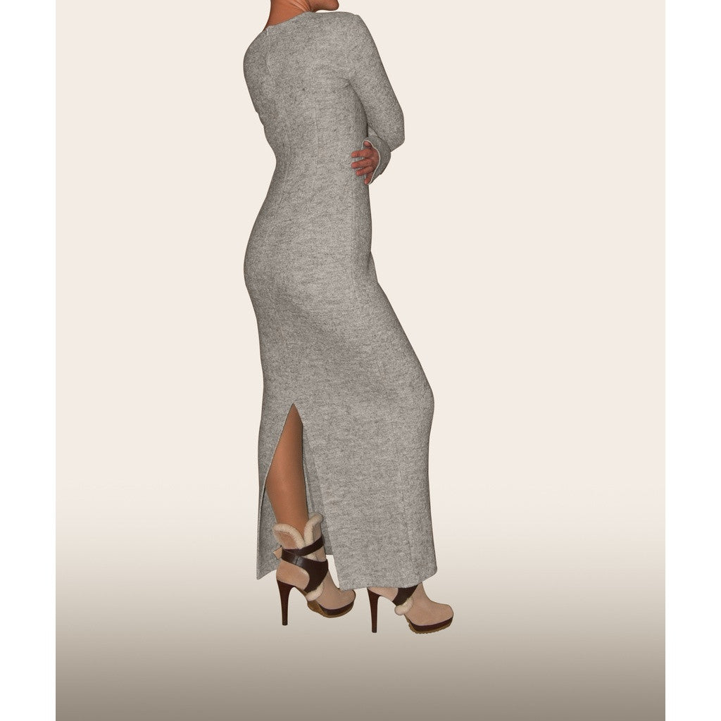 Gray woolen long dress