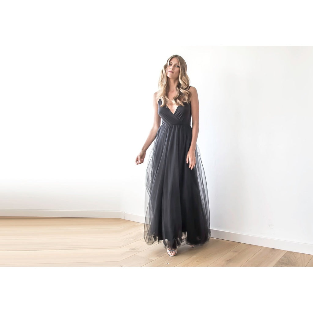 Black straps maxi tulle dress 1053
