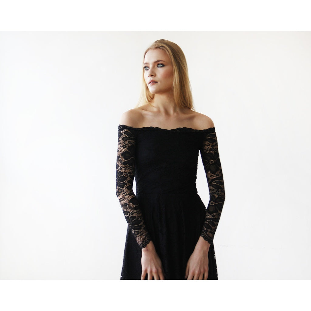 Black Off-The-Shoulder Floral Lace Long Sleeve Midi Dress 1149