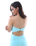 Strapless Evening Dress - Light Blue