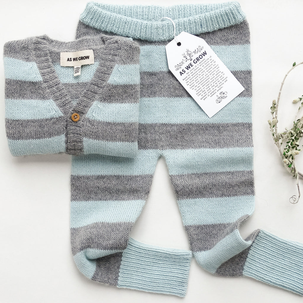 striped leggings - grey/ice