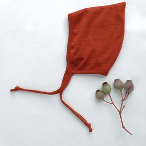 merino wool bonnet - rust