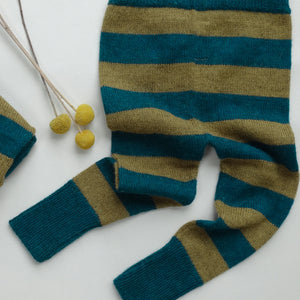 striped leggings -teal/mustard