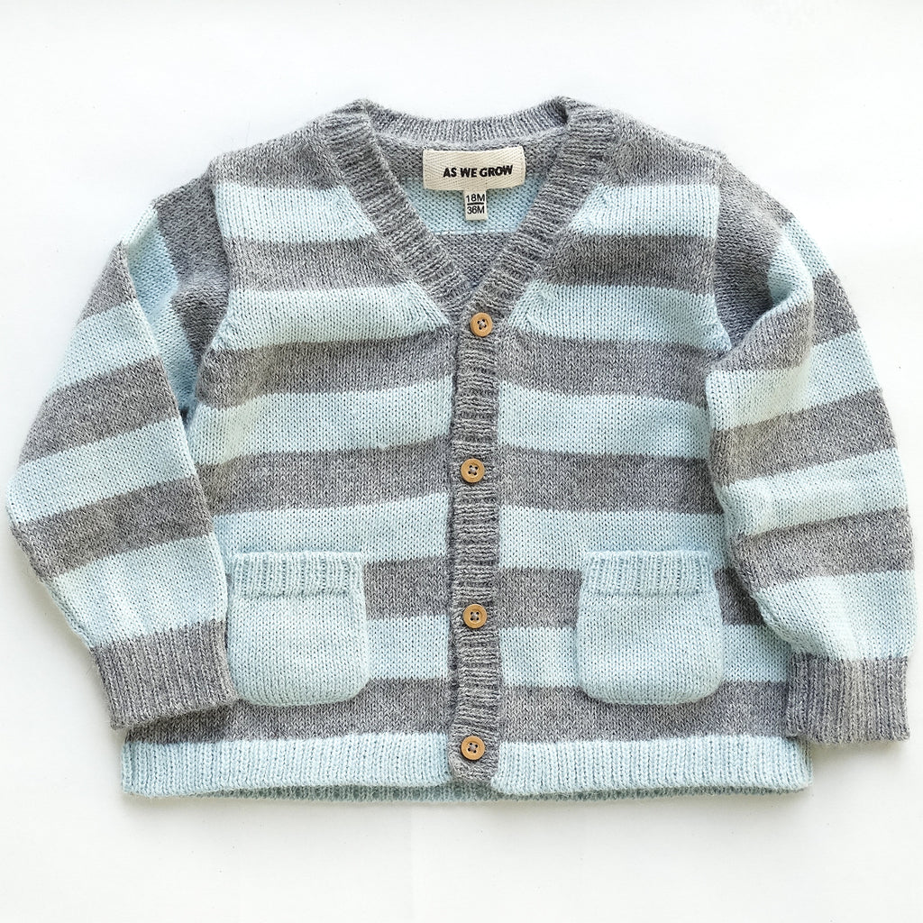 striped cardi - grey/ice