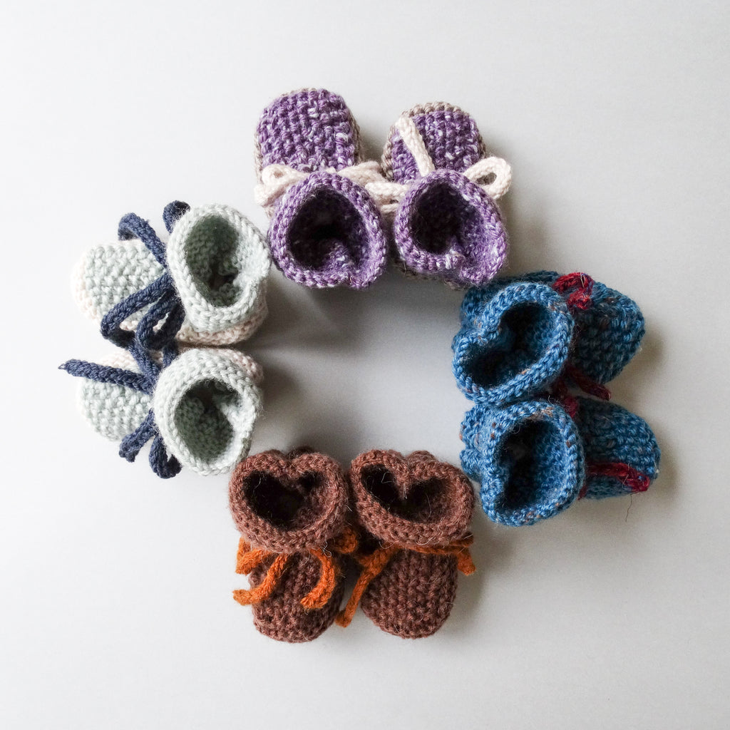 Hand Knitted Booties with Tie