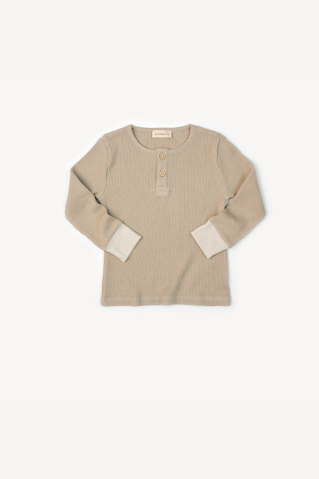 waffle henley top - almond